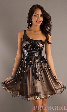 Short One Shoulder A-Line Dress at PromGirl.com