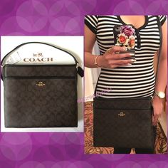 "Authentic Coach Logo Handbag % AUTHENTIC✨ Beautiful and classic logo handbag from Coach! Colòrs: Brown & Black   Lightweight & very spacious! Length 11 1/2"" Height 10 1/2"" Width 2"" w/ adjustable long strap. Exterior front compartment and 3 inside interior pockets. Yellow gold tone hardware. New w/ tag! NO TRADE  PRICE IS FIRM‼️ Coach Bags Crossbody Bags"