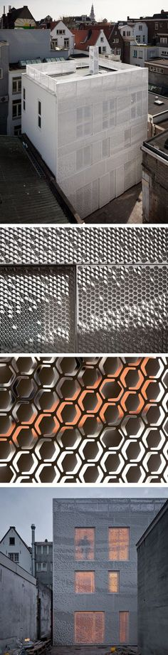 Bent by Chris Kabel with Abbink X de Haas. A facade of perforated hexagons that catches the light like a hanging sheet of fabric, If they are bent upwards they reflect the light and bending downwards they become darker pixels.: