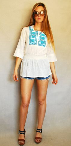 Vintage Embroidered Folk Bohemian Tunic Peasant Blouse White Linen with Smocking and Ethnic Embroidery Small $23
