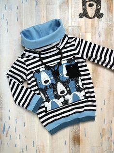 Selbstgenähter Kinder Kragenpulli nach dem Schnittmuster Mini Mister » blau » schwarz-weiß gestreift » zweifarbiges Bündchen » Kordeln » MuttuRalla » Bären