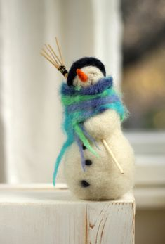 This little friend was made in Sofia a few days ago, although there is no snow yet. He is made of wool. He is a real gentleman with a small blue hat and scarf. For my Happy White Snowman I used...