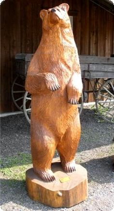 Chainsaw carved wooden brown bear for the office.