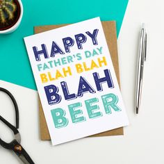 Happy Father's Day Blah Blah Blah Beer Funny Typographic contemporary Letterpress Inspired Greetings Card by doyoupunctuate on Etsy