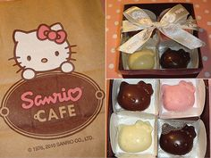 Hello Kitty Cafe Sweets mmmmmmm ya Id never eat them lol Hello Kitty Shop, Kitty Cafe, Hello Kitty Collection, Event Themes, My Melody, Cute Food, Cute Photos, Sanrio, Food Art