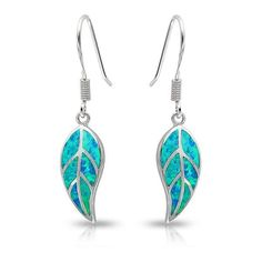 Bling Jewelry Blue Opal Inlay Nature Leaf Dangle Leaves Earrings... ($41) ❤ liked on Polyvore featuring jewelry, earrings, blue, blue topaz earrings, sterling silver leaf earrings, opal jewelry, leaf earrings and diamond earrings