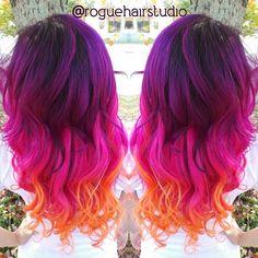 Neon Mermaid Hair Neon Color Melt Neon purple hair Neon pink hair Neon orange Hair by @roguehairstudio hotonbeauty