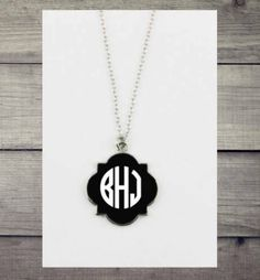Enamel Quatrefoile Monogrammed Necklace -Fashion Jewelry- Matching set available #Unbranded #Beaded