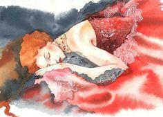 Watercolor by artist Maria Kurbatova Paintings Art And Illustration, Watercolor Portraits, Watercolor And Ink, Watercolor Paintings, Watercolors, Bel Art, Creation Photo, Russian Art, Pretty Art