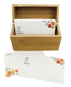 Bamboo Recipe Box Set With 100 Recipe Cards & 10 Blank Di...