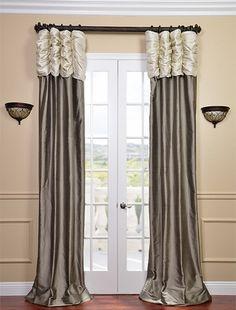 Ruched Thai Silk Curtain - Pearl White Header  Grey Panel