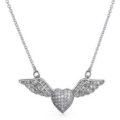 Bling Jewelry Bling Jewelry 925 Sterling Silver Cz Pave Heart Angel... ($30) ❤ liked on Polyvore featuring jewelry, necklaces, clear, sterling silver cubic zirconia necklace, pave necklace, cz necklace, cz heart necklace and angel wing necklace