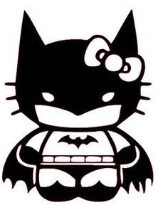 Batman Hello Kitty Coloring Sheet #SuperHero #SuperHeroes #Hero #Heroes #ColoringSheets #HelloKitty #Batman