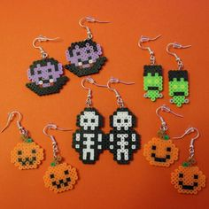 image 0 Easy Perler Bead Patterns, Perler Bead Templates, Diy Perler Beads, Perler Bead Art, Mini Hama Beads, Pearler Beads, Hama Beads Halloween, Perler Earrings, Pearl Beads Pattern