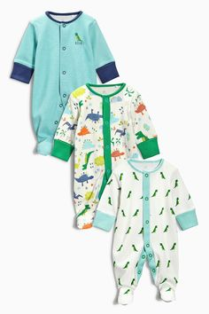 Buy Three Pack Green Dino Sleepsuits (0mths-2yrs) from the Next UK online shop