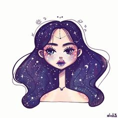 "(@alishaillustration)  ""You're my universe 💫🌙🌌"""