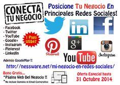 Mi Negocio En Redes Sociales .... Oferta Exclusiva -  Presencia Profesional del Negocio en las Redes Sociales -  Esta oferta es por unicamente este mes de octubre ...  CLICK AQUI MAS DETALLE http://nessware.net/mi-negocio-en-redes-sociales/