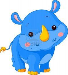 Leuke dierentuin. Illustratie van schattige Rhino Stockfoto - 12061285