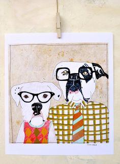 Art Print on Paper Dorks Dogs Nerds Illustration Dog by retrowhale, $24.00