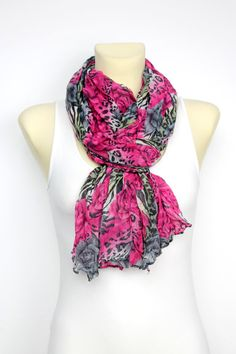 Leopard Print and Roses Scarf - Women Fashion Accessories - Animal Print Scarf - Gift Ideas for Her - Floral Fabric Scarf - Womens Clothing