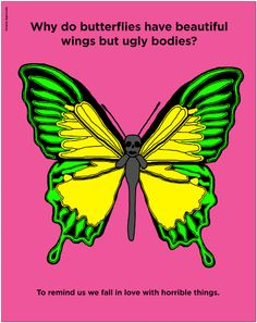 Who to butterflies have beautiful wings but ugly bodies? To remind us we fall in love with horrible things.