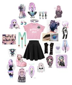 """""""Don't mess with me- pastel goth:)"""" by messed-up-soul ❤ liked on Polyvore featuring Poizen Industries, Club Room and Demonia"""
