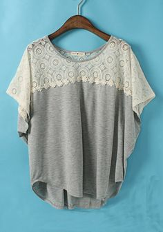Grey Flowers Round Neck Short Sleeve Lace T-Shirt