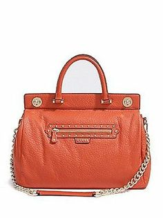 Authentic GUESS LARGE TEXTURED LEATHER SATCHEL & Dust bag Cover Orange