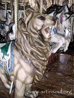 Haunted Carousel Lion and Horses Photograph Art by ArtInSoulorg