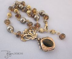 Heirloom Quality, Repurposed Antique Mourning Locket Necklace by JryenDesigns - click here to purchase today and use Coupon Code PINNER 10 for 10% discount