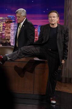 Host Jay Leno greets actor Robin Williams on June 18 2007