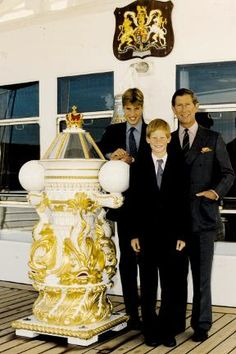 Prince Charles, Prince William and Prince Harry aboard the royal yacht Britannia in August just days before Princess Diana's death in 1997