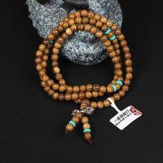 Cindiry Vintage 108 *8mm/108*6mm Wenge Prayer Beads Tibetan Buddhist Mala Buddha Bracelet Rosary Wooden Bangle Jewelry P00