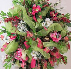 Amazing  XXL Deco Mesh Summer Wreath for Your by LadybugWreaths http://www.LadybugWreaths.com