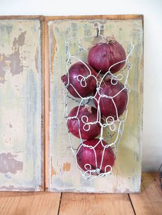 Handmade Wire Onion Basket In Distressed White by CharestStudios
