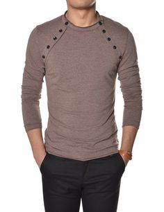 TheLees Mens Casual Long Sleeve Button Point Round neck Tshirts at Amazon Men's Clothing store: Button Down Shirts