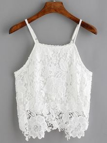 Shop Spaghetti Strap Crochet Cami Top at ROMWE, discover more fashion styles online. Crochet Cami Tops, White Crochet Top, Crochet Shirt, Crop Top Outfits, Trendy Outfits, Cute Outfits, Girls Fashion Clothes, Girl Fashion, Fashion Outfits