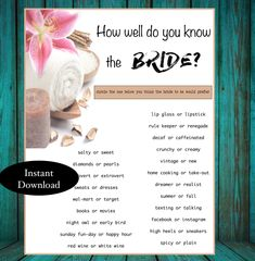 Items similar to Bridal Shower Game Spa Bachelorette Parties, Spa Day Party, Hen Party Games, Chelsea Wedding, Wedding Shower Games, Hens Night, Wedding Planning, Shower Ideas, Bride