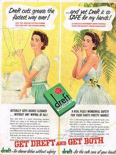 I can't decide which one I like more, her cheerful green housework outfit or her sweetly pretty after-chores sundress. #vintage #1950s #dishes #homemaker #housewife #kitchen #soap