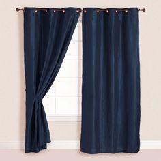 2x Panels/Pair Faux Suede Metal Grommet Curtain Drape Set Washable Navy Blue 54 x 96 HGS  $27