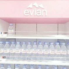 pink, evian, and water image