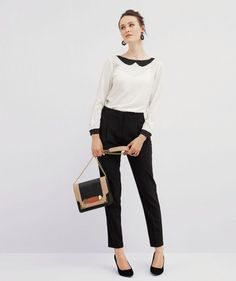 When in doubt, go with a simple, yet stylish, blouse  and cropped pants for Thanksgiving dinner.