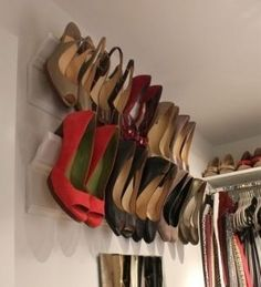 23 Decor Hacks – You need to see what's behind this book! Use crown molding in closet to make a shoe rack for high heels.