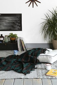 Lounging #the2bandits #banditabodes pillow, lounge areas, urban outfitters, plaid, mohair blanket, white walls, motor robe, 4040 locust, blankets