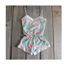 Sample SALE One of a Kind Aqua Blue and Pink Floral Romper Sleepwear Spring Summer Size Small Petite