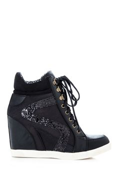 Glitter Accent Wedge Sneakers @ Cicihot Wedges Shoes Store:Wedge Shoes,Wedge Boots,Wedge Heels,Wedge Sandals,Dress Shoes,Summer Shoes,Spring Shoes,Prom Shoes,Women's Wedge Shoes,Wedge Platforms Shoes,floral wedges