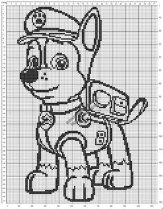 Chase di Paw Patrol schema uncinetto filet copertina neonato 114x150
