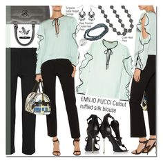 """""""Cutout ruffled silk blouse"""" by sweetsely ❤ liked on Polyvore featuring Versace, Emilio Pucci, Nicholas Kirkwood, polyvoreeditorial, shop2bijoux and frillyblouse"""