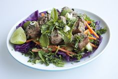 Coconut-Water Marinated Thai Beef Salad on Cabbage Leaves