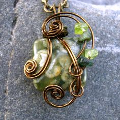 Green Rhyolite Wire Wrapped Pendant Necklace in Antique Bronze by CareMoreCreations.com, $29.00  #Handmade #Jewelry